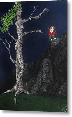 Metal Print featuring the drawing Unalone by Danielle R T Haney