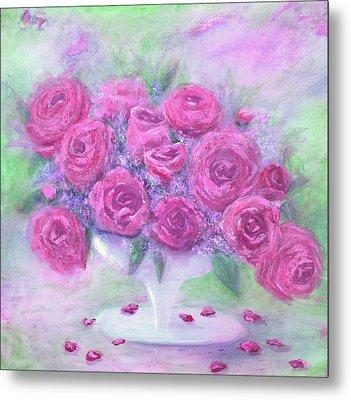 Armchair Rose Garden Metal Print