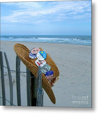 Uncle Carl's Beach Hat Metal Print