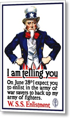Uncle Sam -- I Am Telling You Metal Print by War Is Hell Store