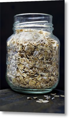 Uncooked Oatmeal Flakes Metal Print by Donald  Erickson