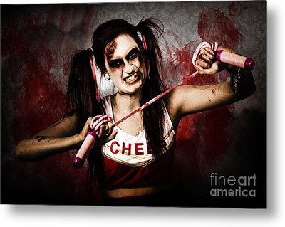 Undead Cheerleader Causing Destruction And Chaos Metal Print by Jorgo Photography - Wall Art Gallery