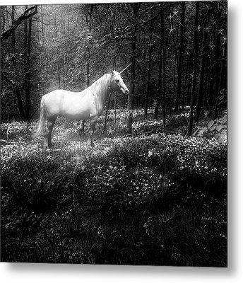 Under A Moonlit Sky  #fantasy #unicorn Metal Print
