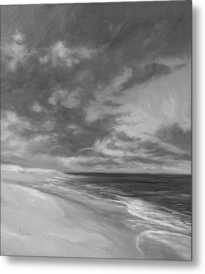 Under A Painted Sky - Black And White Metal Print by Lucie Bilodeau