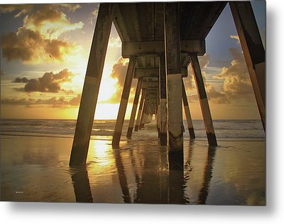 Under Johnny Mercer Pier At Sunrise Metal Print by Phil Mancuso