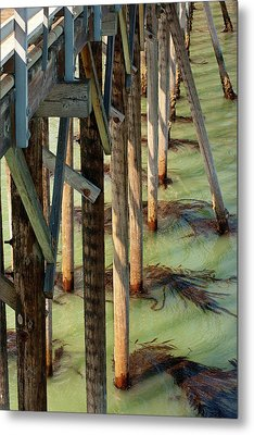 Metal Print featuring the photograph Under San Simeon Pier by Art Block Collections