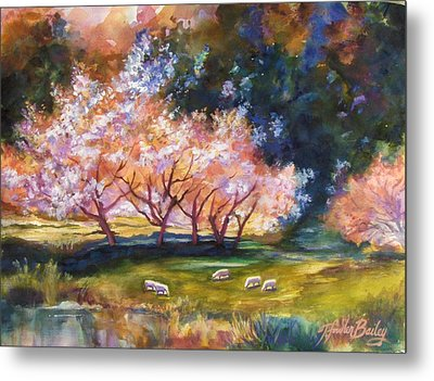 Under The Blossom Trees Sold Metal Print by Therese Fowler-Bailey