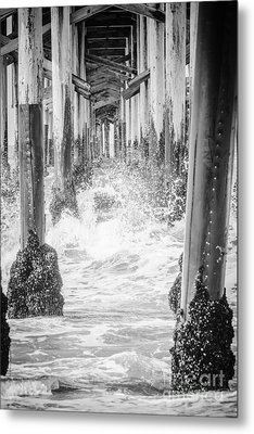 Under The California Pier Black And White Picture Metal Print by Paul Velgos
