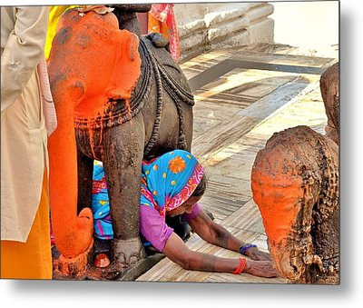 Under The Elephant - Narmada Temple At Arkantak India Metal Print by Kim Bemis