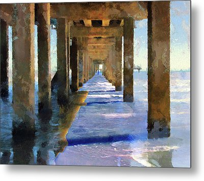 Under The Galvaston Pier - Limited Edition Metal Print