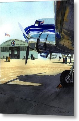 Metal Print featuring the painting Under The Plane's Wing by Sergey Zhiboedov