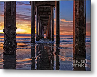 Under The Scripps Pier Metal Print