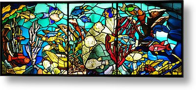 Under The Sea - Stained Glass Metal Print by Bill Cannon
