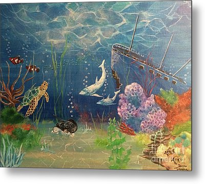 Metal Print featuring the painting Under The Sea by Denise Tomasura