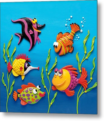 Under The Sea Square Metal Print by Amy Vangsgard
