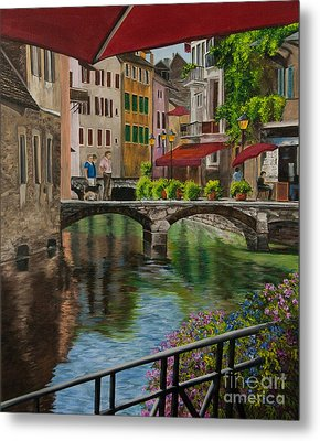 Under The Umbrella In Annecy Metal Print