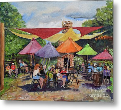 Metal Print featuring the painting Under The Umbrellas At The Cartecay Vineyard - Crush Festival  by Jan Dappen