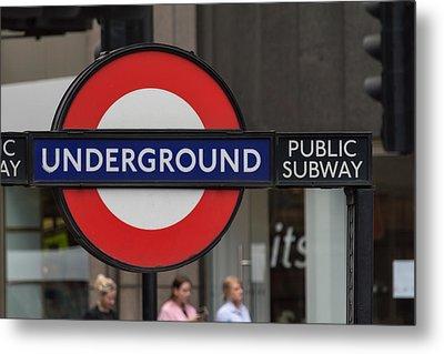 Underground Sign London Metal Print