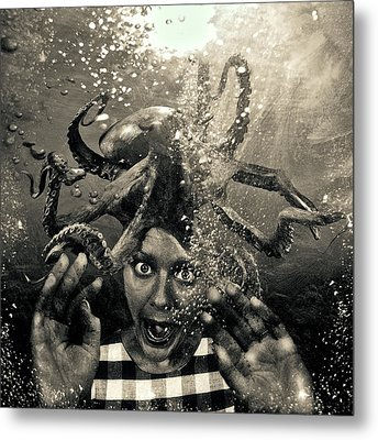 Underwater Nightmare Black And White Metal Print