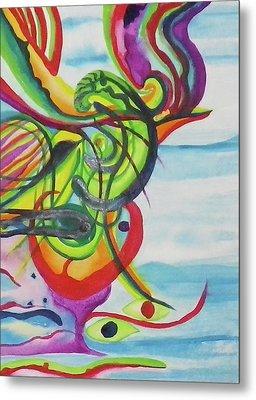 Underwater Psychedelic Bird Metal Print by Erika Swartzkopf