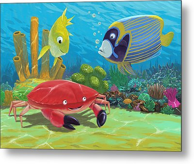 Underwater Sea Friends Metal Print by Martin Davey