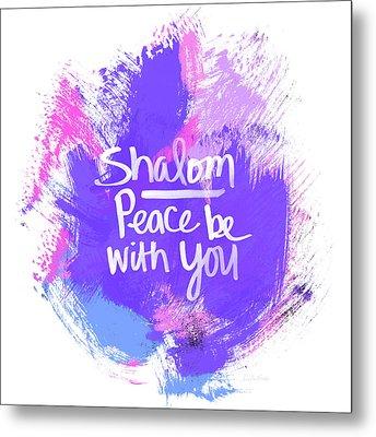Unicorn Colors Shalom- Art By Linda Woods Metal Print