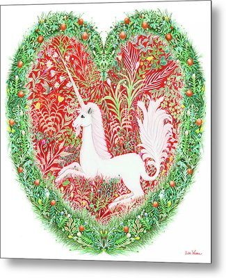 Unicorn Heart With Millefleurs Metal Print