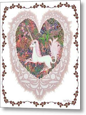 Unicorn In A Pink Heart Metal Print by Lise Winne