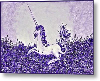 Unicorn In Purple Metal Print by Lise Winne