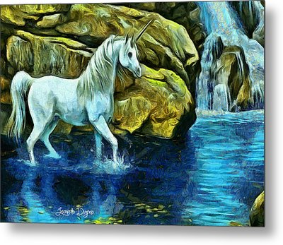 Unicorn In The River Metal Print