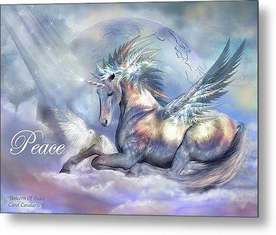 Unicorn Of Peace Card Metal Print by Carol Cavalaris