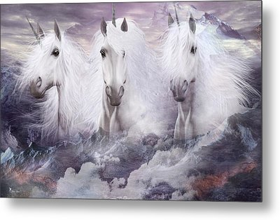 Unicorns Of The Mountains Metal Print