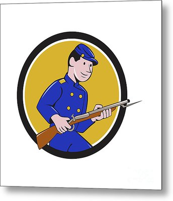 Union Army Soldier Bayonet Rifle Circle Cartoon Metal Print by Aloysius Patrimonio