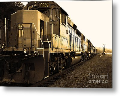 Union Pacific Locomotive Trains . 7d10588 . Sepia Metal Print by Wingsdomain Art and Photography