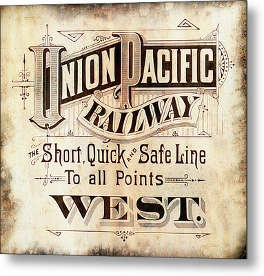 Metal Print featuring the mixed media Union Pacific Railroad - Gateway To The West  1883 by Daniel Hagerman