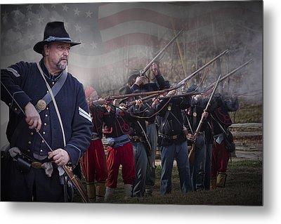 Union Soldier Reenactors Metal Print by Randall Nyhof