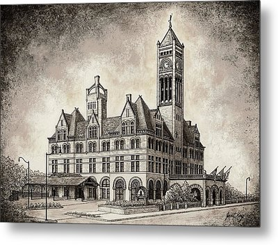 Union Station Mixed Media Metal Print by Janet King