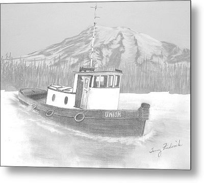 Metal Print featuring the drawing Tugboat Union by Terry Frederick