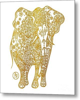 Unique Golden Elephant Art Drawing By Megan Duncanson Metal Print by Megan Duncanson