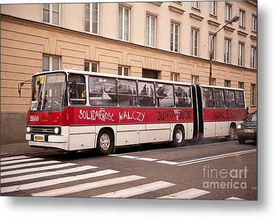 Unique Solidarnosc Bus On Street Metal Print by Arletta Cwalina
