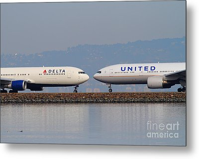 United Airlines And Delta Airlines Jet Airplane At San Francisco International Airport Sfo . 7d12091 Metal Print by Wingsdomain Art and Photography