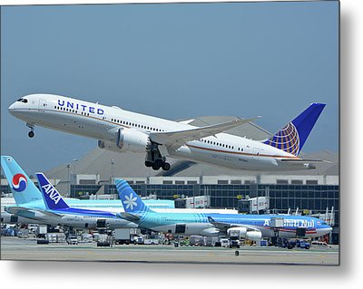 Metal Print featuring the photograph United Boeing 787-9 N27965 Los Angeles International Airport May 3 2016 by Brian Lockett