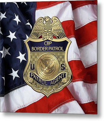 United States Border Patrol -  U S B P  Patrol Agent Badge Over American Flag Metal Print