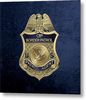 United States Border Patrol -  U S B P  Patrol Agent Badge Over Blue Velvet Metal Print