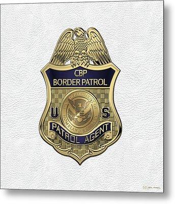 United States Border Patrol -  U S B P  Patrol Agent Badge Over White Leather Metal Print