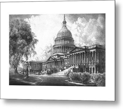 United States Capitol Building Metal Print by War Is Hell Store
