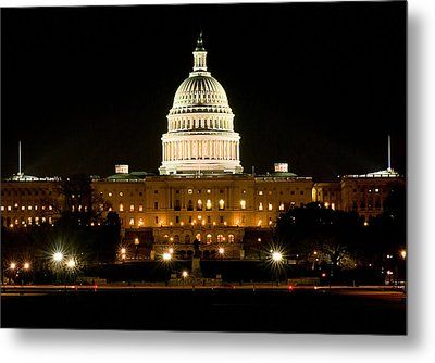 United States Capitol Grounds At Night Metal Print