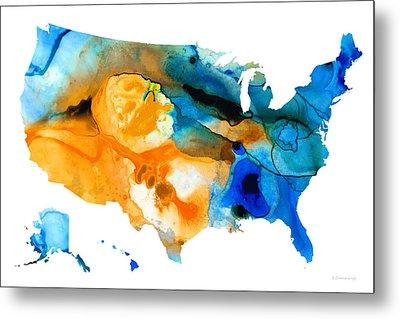 United States Map - America Map 9 - By Sharon Cummings Metal Print by Sharon Cummings