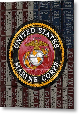 United States Marine Corps Logo Vintage Recycled License Plate Art Metal Print