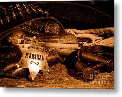 United States Marshall Shield - Sepia  Metal Print by Olivier Le Queinec